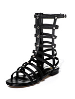 Women's Shoes Leather Flat Heel Slingback / Gladiator / Open Toe Sandals Party & Evening / Dress / Casual (cowhide)