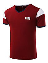 Men's Short Sleeve T-Shirt,Cotton Casual / Sport Color Block