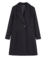 Women's Solid Black Pea Coats,Simple / Street chic Long Sleeve Wool