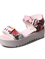 Women's Shoes Leatherette Flat Heel Peep Toe / Round Toe Sandals Outdoor / Casual Blue / Pink