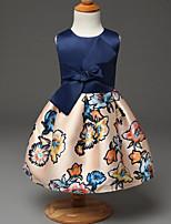 Robe Fille de Eté / Printemps / Automne Rayonne Bleu