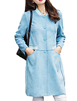 Women's Solid Blue / Pink Pea Coats,Simple Long Sleeve Polyester