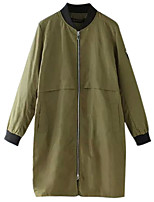 Women's Black / Green Trench Coat,Simple Long Sleeve Polyester