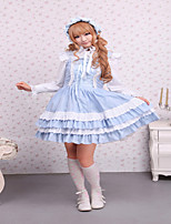Cotton Sky Blue Lace Front Ties Sweet Lolita Dress JSK
