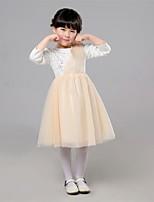 A-line Knee-length Flower Girl Dress-Satin / Tulle 3/4 Length Sleeve