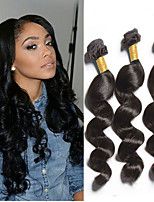 New Arrival 3Bundles Peruvian Virgin Hair Weave Natural Black Loose Wave Unprocessed Virgin Human Hair Weaves.