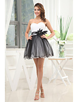 Cocktail Party Dress-White / Black A-line Strapless Short/Mini Tulle