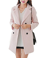Women's Solid Blue / Pink / Gray Coat,Simple Long Sleeve Wool
