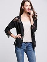 Women's Print White / Black Cloak/Capes,Vintage / Street chic Long Sleeve Lace stitching chiffon cape coat