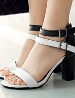 Zapatos de mujer-Tacón Robusto-Talón Descubierto / Punta Abierta-Sandalias-Vestido-Semicuero-Amarillo / Blanco