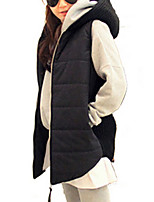 Women's Solid Black Padded Coat,Simple / Street chic Hooded Sleeveless