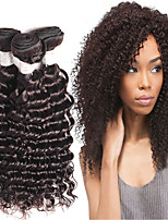 4Bundles 8-26inch Brazilian Deep Wave Hair Extensions,Real Human Remy Virgin Hair Weave, Top Quality Natural Black Hair.