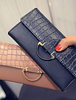 VENETA Women PU Tri-fold Clutch / Wallet / Card & ID Holder-Black / Khaki