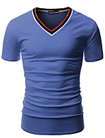 Men's Fashion Striped V Collar Slim Fit Short Sleeve T-Shirt, Cotton /Polyester/Stripe