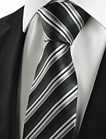KissTies Men's New Striped Grey Black Classic Microfiber Tie Necktie For Wedding Party Holiday With Gift Box
