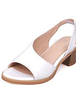 Zapatos de mujer-Tacón Robusto-Punta Abierta-Sandalias-Vestido-Semicuero-Amarillo / Rosa / Blanco / Plata