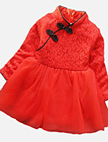 Girl's Red Dress,Floral / Lace Polyester / Spandex Spring / Fall
