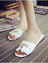 Women's Shoes Flat Heel Peep Toe Slippers Outdoor / Casual Black / White