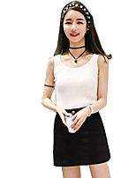 Women's Solid Pink / White / Black Skirts,Sexy / Casual / Day Above Knee