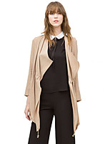 Women's Solid Beige / Black Coat,Simple Long Sleeve Polyester