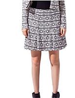 Women's Geometric Black Skirts,Casual / Day Knee-length