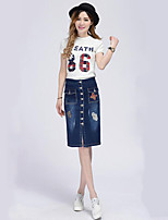 Women's Solid Blue Skirts,Casual / Day Knee-length