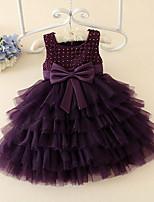 Ball Gown Knee-length Flower Girl Dress - Satin / Tulle Short Sleeve