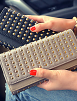 VENETA Women PU Tri-fold Clutch / Wallet / Card & ID Holder-Gray / Black