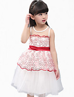 Girl's Red / White Dress,Lace Cotton / Polyester Summer
