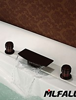 Mlfalls Brands Waterfall Spout Oil Rubbed Bronze Bathroom Basin or Tub Faucet Filler Hand Shower