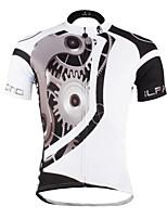 PaladinSport Men 's Short Sleeve Cycling Jersey DX617mechanical white 100% Polyester
