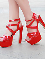 Women's Shoes Leatherette Chunky Heel Peep Toe Sandals Outdoor / Dress / Casual Black / Pink / Red / White/622