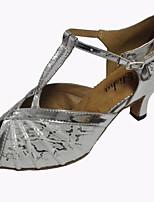 Damen Latin Kunststoff Sandalen Party Rüschen Maßgefertigter Absatz Weiß Schwarz