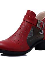 Modern Women's Dance Shoes Sneakers Breathable Leather Cuban Heel Black/Beige/Red