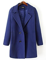 Women's Solid Blue / Purple Pea Coats,Plus Size Long Sleeve Wool