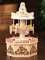 Merry-Go-Round For Elise Music Box Wood Beige