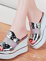 슬리퍼-사무실 & 커리어 / 드레스 / 캐쥬얼 / 파티/이브닝-여성의 신발-크리퍼 / 슬리퍼-인조 합성-플랫폼-블랙 / 실버