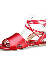 Women's Shoes Flat Heel Peep Toe Sandals Casual Blue / Pink / Red / Beige
