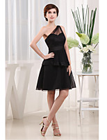 Cocktail Party Dress-Black A-line One Shoulder Short/Mini Satin / Tulle