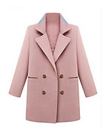 Women's Solid Blue / Pink Coat,Simple Long Sleeve Cotton