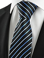 KissTies Men's New Striped Blue Black Microfiber Tie Necktie For Wedding Party Holiday With Gift Box