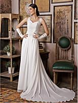 Свадебное платье - Белый Платье-футляр V-образный вырез С коротким шлейфом Шифон / Атлас