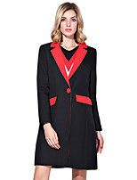 Women's Patchwork Black Trench Coat,Simple / Street chic Long Sleeve Polyester