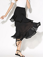 Women's Patchwork Black Skirts,Holiday / Beach Asymmetrical Ruffle Fashion Slim Fishtail skirt Nylon/De chine