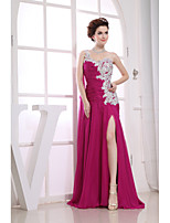 Formal Evening Dress-Fuchsia Sheath/Column One Shoulder Floor-length Chiffon / Lace / Charmeuse