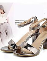 Zapatos de mujer-Tacón Robusto-Tacones / Punta Abierta-Sandalias-Casual-Ante / Semicuero-Negro / Morado / Plata / Multicolor