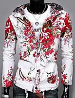 Men's Long Sleeve Jacket,Linen Casual Floral