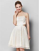 칵테일 파티 드레스 - 아이보리 A-라인 무릎 길이 끈없는 스타일 반짝이