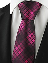 Checked Pattern Purple Mens Tie Formal Suits Necktie Wedding Holiday Gift KT1062