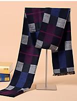 Korean Men's Striped  Winter Warm Cashmere Dual-use Grid Scarves